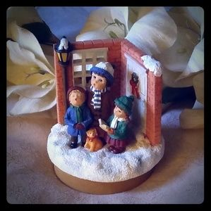 Christmas Carolers Ceramic Candle Topper